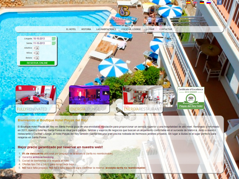 Dise o web alicante hotel playas del rey for Hotel diseno alicante